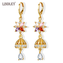 pataya new 585 rose gold extreme luxury micro wax inlay natural zircon flowers chokers necklace women wedding party fine jewelry LINDLEY2020 dangle geometric earrings for women 585 Rose gold mixed color zircon earring fine vintage jewelry Wedding party gift