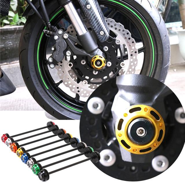 Motocicleta cnc liga de alumínio modificado eixo dianteiro garfo acidente slider roda protector apto para kawasaki z800 z1000 2013 2014 2015