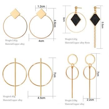 2020 Newest Earrings Gold Drop Earrings For Women Statement Big Geometric Hanging Dangle Earring Vintage Jewelry 3