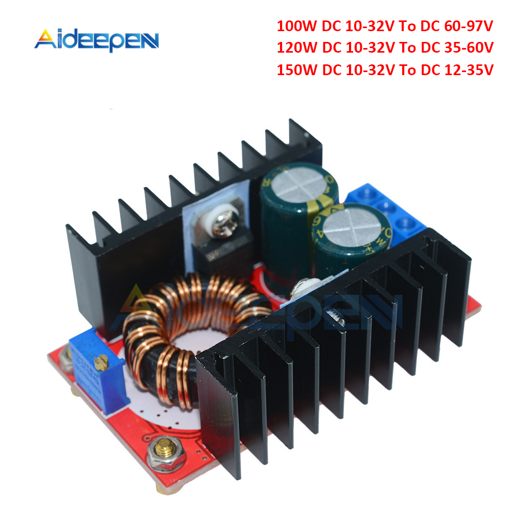 100W 120W 150W <font><b>DC</b></font>-<font><b>DC</b></font> Boost <font><b>Converter</b></font> Step Up Power Supply Module 10-32V To 12-97V Laptop <font><b>Voltage</b></font> Charge Board For Arduino image