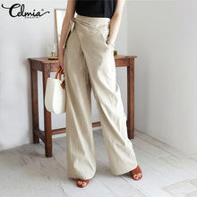 5XL Celmia Vintage High Waist Casual Linen Trousers Women Wide Leg Pants Bandage Asymmetric Palazzo Loose Office Pantalon Female