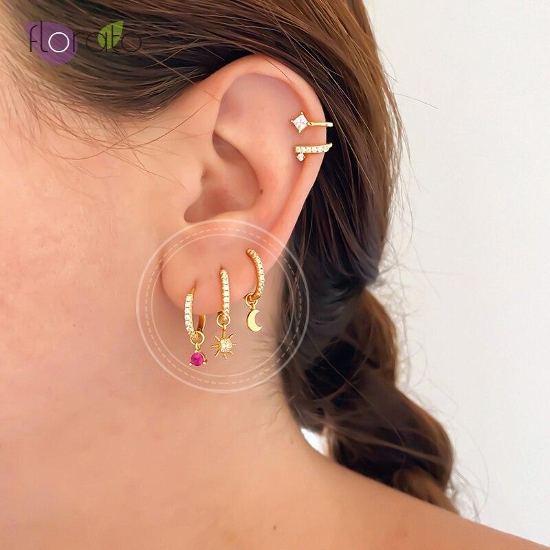 925 Sterling Silver Earrings For Women Minimalist Two Hoop Earrings Four Small Pendants Moon Star Cross Bead Circle Earrings Flash Sale 4ba0b4 Cicig