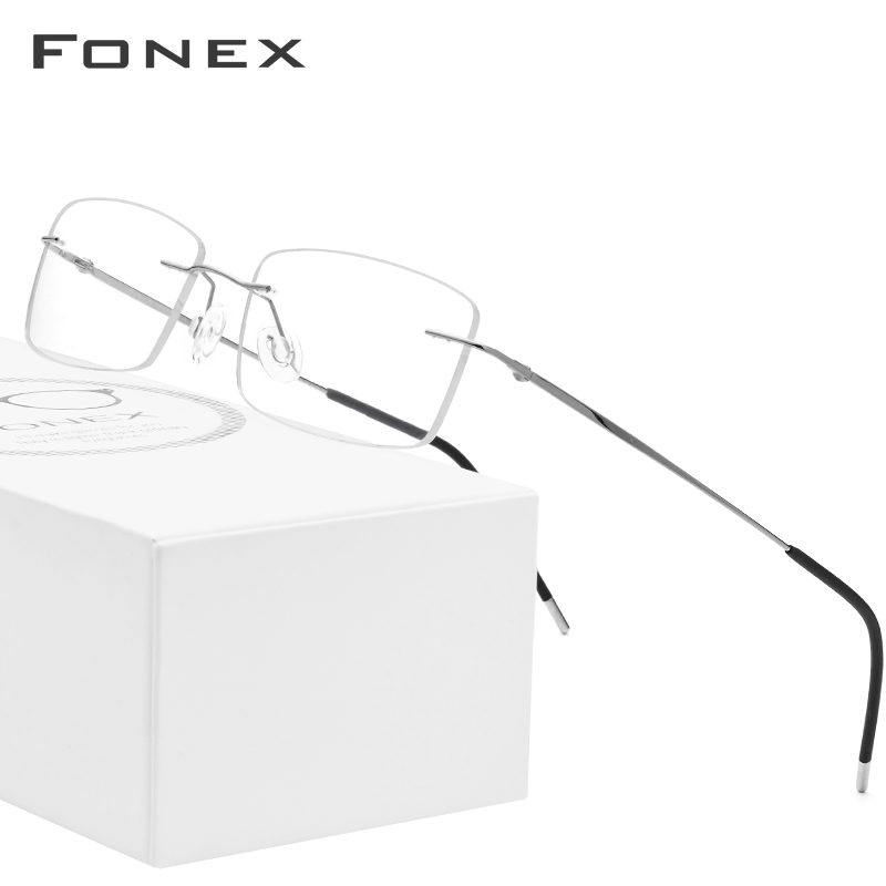 Prescription Eyeglasses Eyewear Square Myopia Rimless Ultralight Titanium-Alloy Women