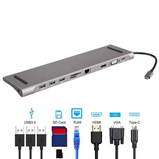 6 في 1 USB نوع C Hub Hdmi PD تسليم الطاقة ميناء 4 USB 3.0 منافذ USB C مهايئ توزيع ل ماك بوك برو Thunderbolt 4 شاحن يو اس بي