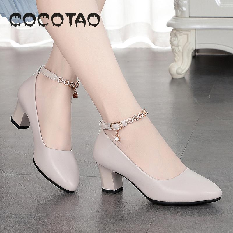 2019 Spring And Autumn New Soft-soled Medium-heeled Women's Shoes 32