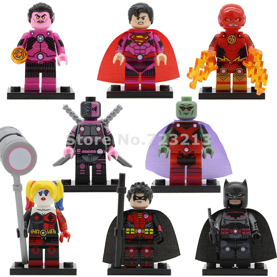 DC Super Heroes Figure Sinestro Deathstroke Superman Batman Martian Manhunter Building Block Models Brick Toys PG8211