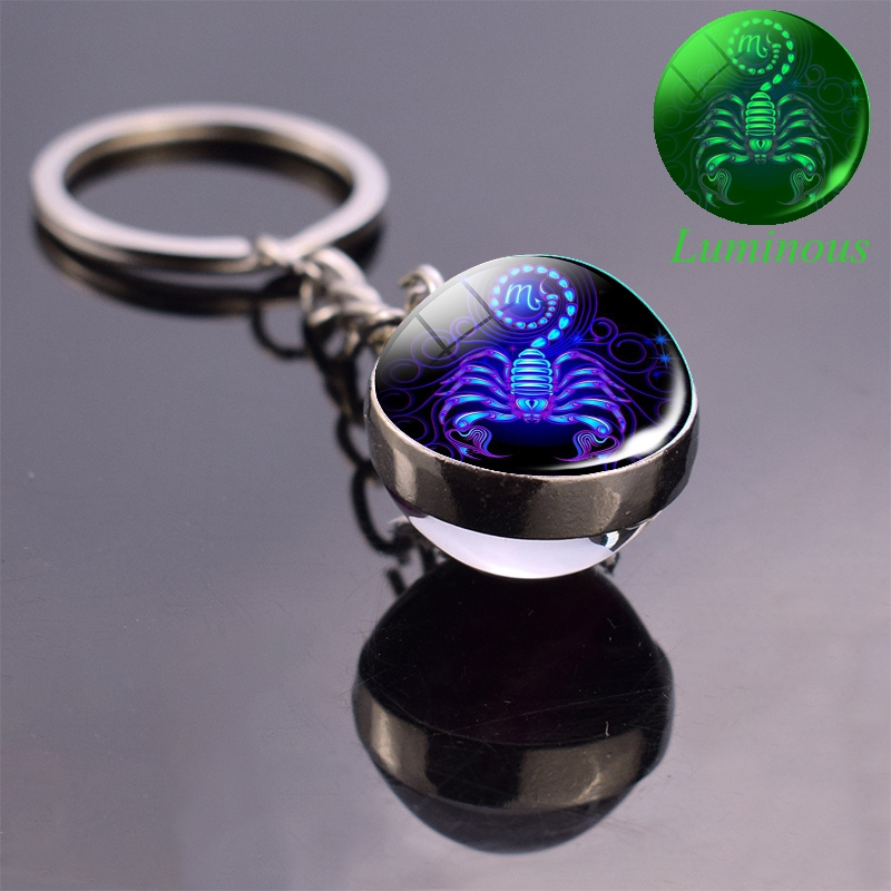 Luminous Keychain Glow In The Dark 12 Zodiac Sign Sphere Ball Crystal Key Rings Scorpio Leo Gemini Constellation Birthday Gift