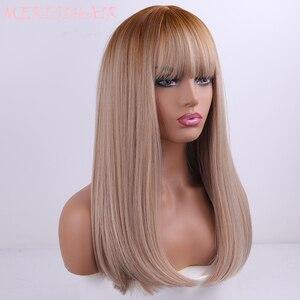 Image 4 - Perruques synthétiques lisses sans colle longue couleur noire, brune ombré, perruque de Cosplay en Fiber de haute température pour femmes noires/blanches