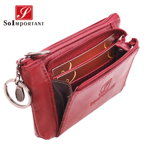 Cheapest Genuine Leather Women Female Wallets Coin Purse Men Small Zipper Money Bags Lady Pouch Card Holder With Key Ring(China)