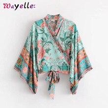 Boho Shirt Blouse  Batwing Sleeve Beach Summer Short Tops Retro Vintage Peacock Floral Print Kimono Women Bow Tide Skirts