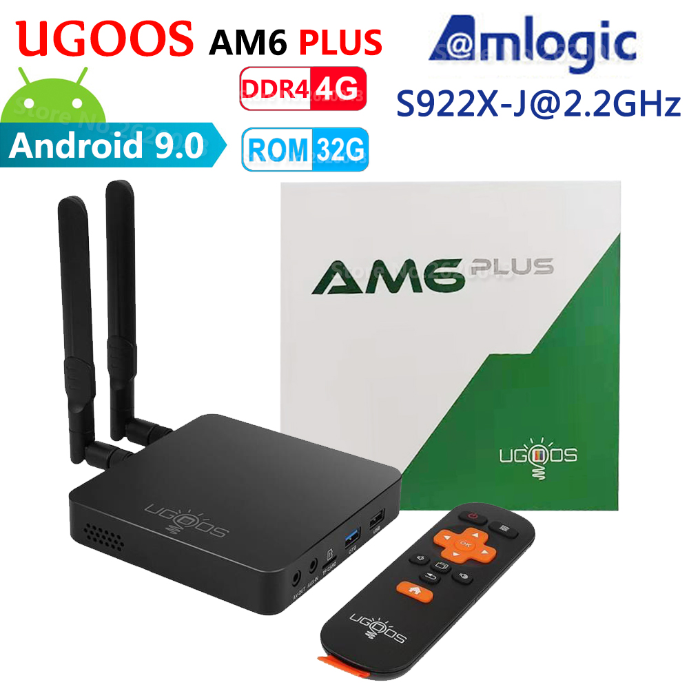 UGOOS AM6 PLUS Amlogic S922X-J 2.2GHz 4GB DDR4 32GB ROM inteligentny Android 9.0 TV, pudełko 2.4G 5G WiFi 1000M Bluetooth 4K HD odtwarzacz multimedialny