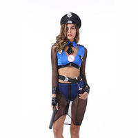Sexy Police Woman Cosplay Costume Adult Woman Erotic Fantasies Cop Costumes Blue Lace Sex Uniform For Role playing Games