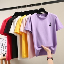 2019 New Simple solid color Women T shirt Korean short sleeve T-shirts female purple tops Casual O-Neck womens clothing цены
