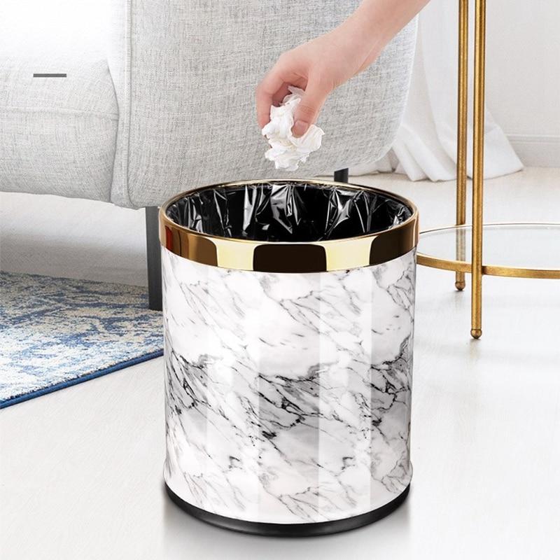 Hot Sale Marble Pattern 10L Trash Can Bin Buckets Diameter 23Cm Height 27Cm Waste Bins Living Room Bathroom Kitchen Dustbin Tras