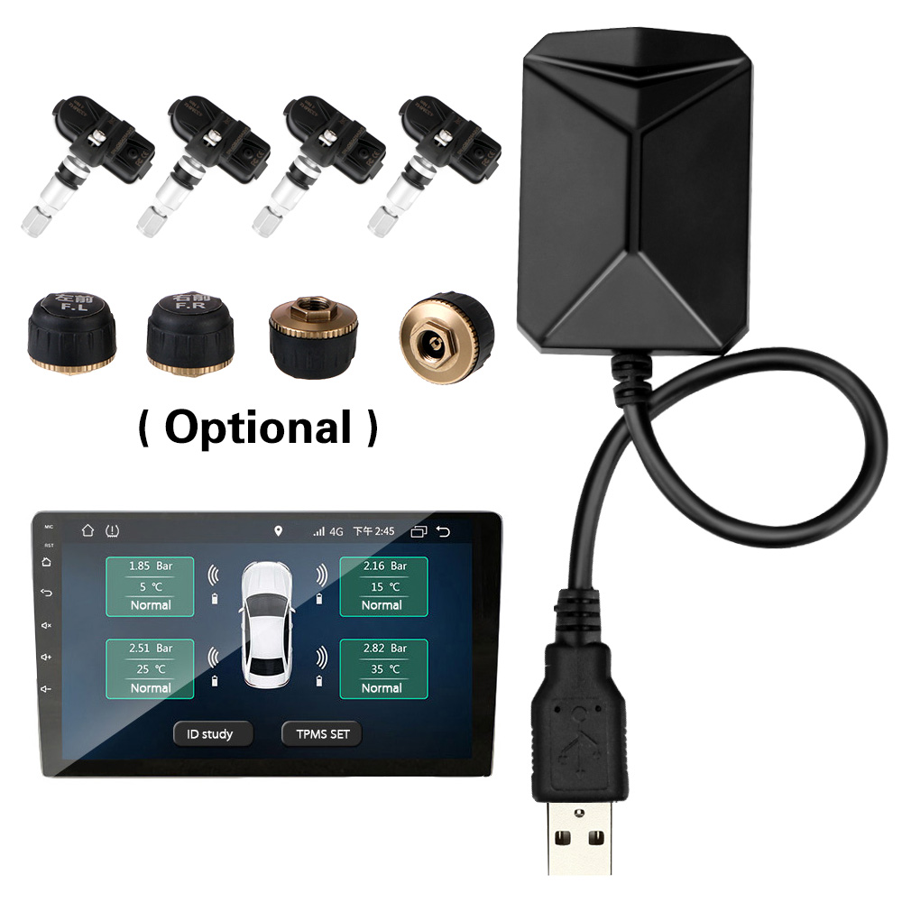 Tire Pressure Monitoring System With 4 Sensors USB Android Car TPMS Wireless Transmission TPMS Android Navigation Alarm System