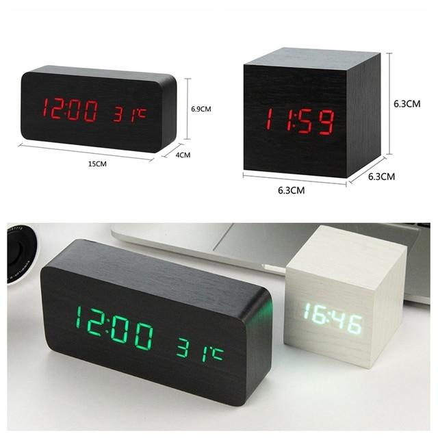 LED Legno Alarm Clock Orologio Da Tavolo di Controllo Vocale Digitale di Legno Despertador Desktop Elettronico USB/AAA Alimentato Orologi Da Tavolo Decor 6
