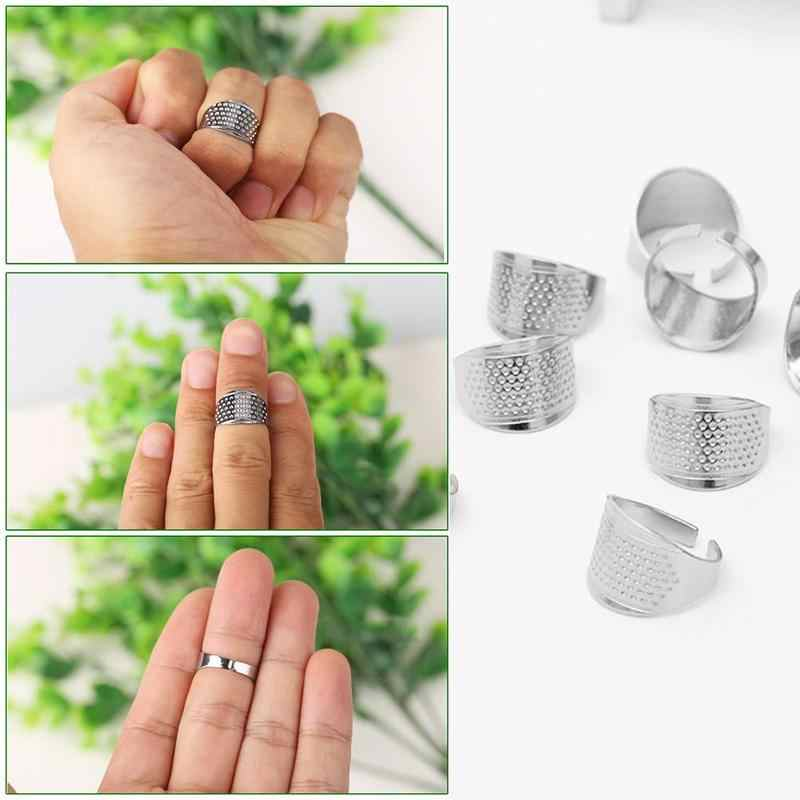 Underleaf 1 Pc Household Sewing Tools Silver Adjustable Ring Thimble Finger Protector Household Quilting Craft Accessories