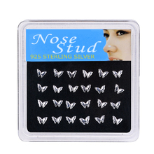 925 Sterling Silver Butterfly Shape 24PCS/Box Nose Studs Rings Piercing Pin Body Jewelry for Women Color