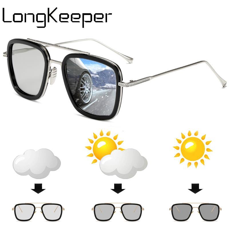 Fashion Metal Photochromic Sunglasses Men Pilot Polarized Discoloration Driver Goggles Lentes Sol Hombre UV400