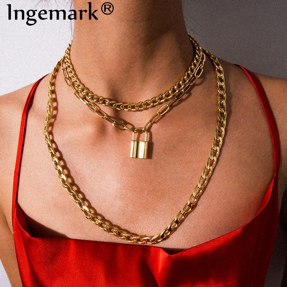 Punk Cuban Big Chunky Chain Necklace Collar Statement Multi Layer Lock Padlock Pendant Choker Necklace Steampunk Couple Jewelry