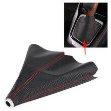 цена на 15mm Gear Shift Knob Cover PU Leather Car Auto Gear Shift Collars Carbon Fiber Car Manual Shifter Gear Shift Boot Covers Gaiter