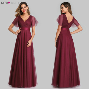 Image 5 - Plus Size Blue Prom Dress 2020 Ever Pretty EP07962 Elegant V Neck Tulle Women Sexy Long Prom Dresses Formal Summer Party Gowns