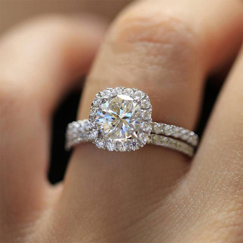 Fashion Crystal Engagement Ring for Women AAA White Cubic Zirconia Silver Color Double Ring 2021 Wedding Trend Female Jewerly