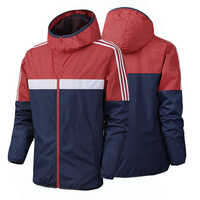 2020 New Brand Spring autumn Mens Fashion Outerwear Windbreaker Men' S Striped Thin Jackets Hooded Casual Sporting Coat clothes