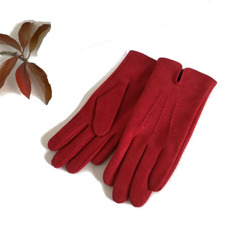 Women's Gloves Suede Leather Thermal Autumn Winter Fashion Elegant Ladies Leather Driving Gloves Keep Warm Black Red DZZP04