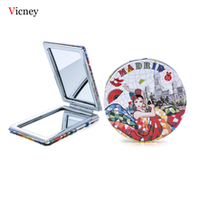Vicney Portable Foldable Pocket Makeup Mirror Woman Fashion Dancing Girl Creative Compact Double Sides Magnifying
