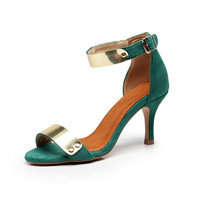Women's adult high heeled dance shoes square dance shoes with green high heeled sandals