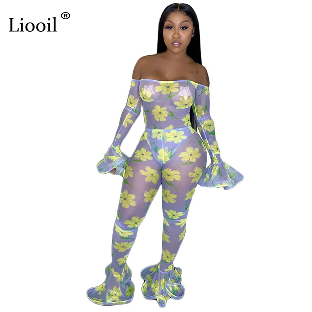 Liooil Mesh Sheer Bell Bottom   Jumpsuit   Women Off Shoulder Sexy Club Outfits Autumn 2019 Flare Sleeve Party Tight Print   Jumpsuits