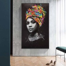 African Woman Abstract Canvas Paintings On The Wall Art Posters And Prints Modern Graffiti Black Pictures Cuadros