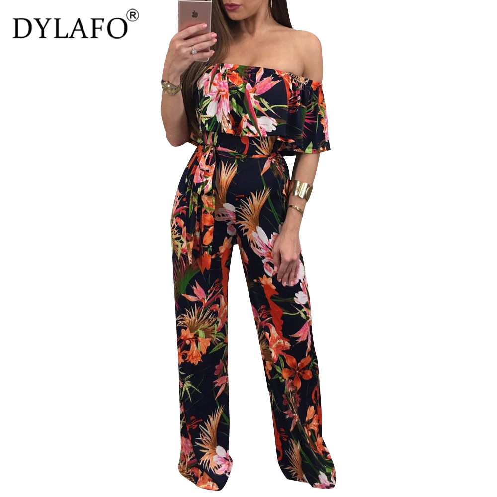 Hot Sale Bohemian Palm Print Lace Up Jumpsuits&Rompers Off Shoulder Plus Size Women Jumpsuit Summer Beach Sexy Jumpsuit Overalls