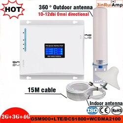 Amplificador móvel gsm 900/dcs lte 1800/wcdma umts 2100 mhz do impulsionador do sinal do repetidor 2g 3g 4g 4g celular do sinal da faixa tri