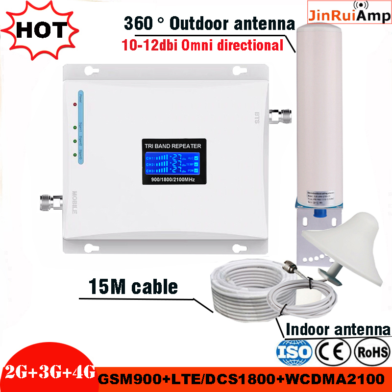 Tri Band Mobile Signal Repeater 2G 3G 4G Cellular Signal Booster Amplifier GSM 900/DCS LTE 1800/WCDMA UMTS 2100MHz