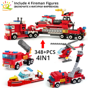 Image 2 - HUIQIBAO 348pcs Fire Fighting 4in1 Trucks Car Helicopter Boat Building Blocks City Firefighter Figures Man Bricks Children Toys
