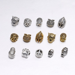 10pcs/bag Gold Buddha Sparta leopard Lion Heads Spacer Beads For Jewelry Finding Making DIY Handmade Charm Beads Bracelet
