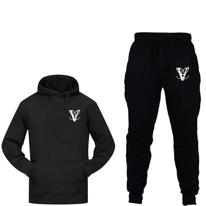 New Fashion Sportswear Warm Printing Men's Sports Suit Fleece Hoodie Running Fitness Two-piece 100% Cotton Sportswear