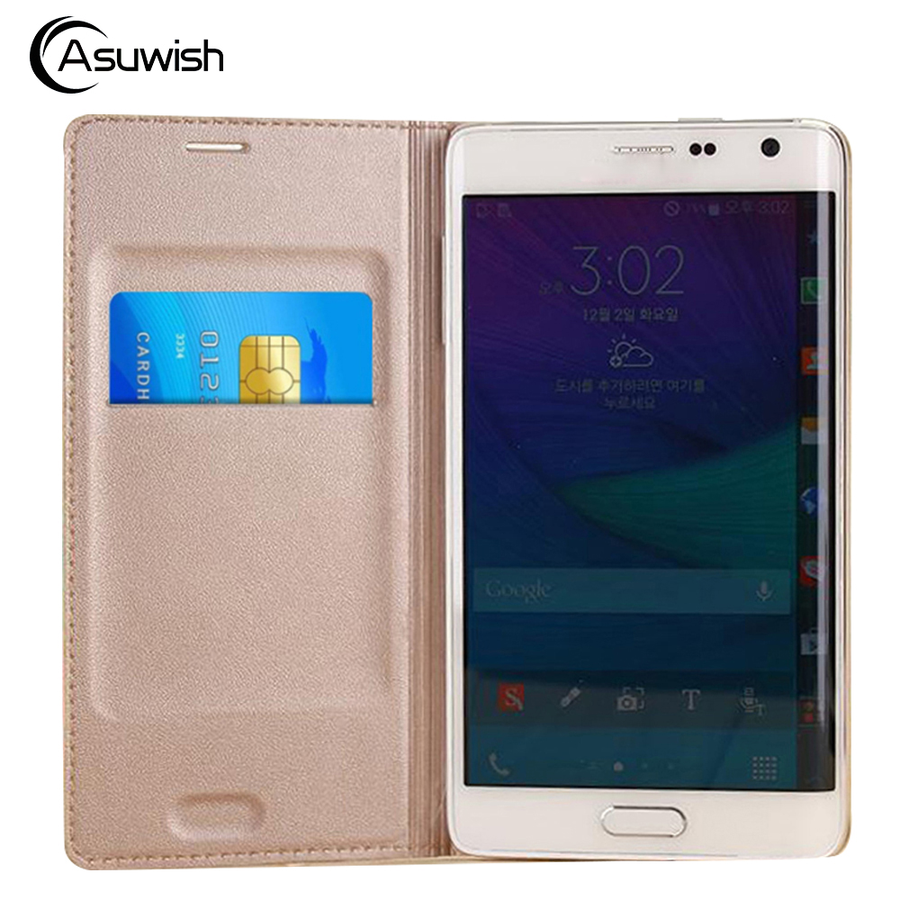 Flip Cover Leather Phone <font><b>Case</b></font> For Samsung Galaxy Note Edge SM <font><b>N915</b></font> N9150 N915F N915T N915G SM-N915F Credit Card Wallet <font><b>Case</b></font> image
