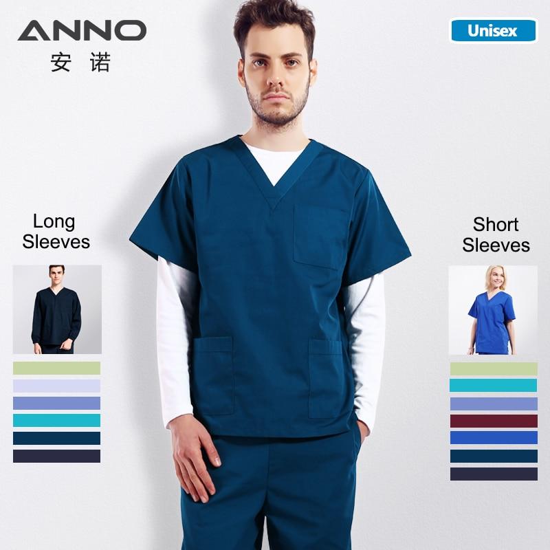ANNO Solid Color Medical Scrubs Set Women&Man Surgery Cloths Short Sleeves Nurse Uniform Doctor Suit Hospital Dental Grown