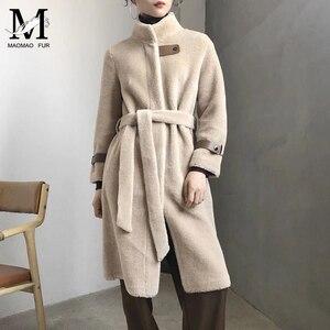 Image 5 - אמיתי כבשים פרווה ארוך מעיל מעיל נשים של חורף חם אמיתי כבשים פרווה מעיל גבירותיי 100% צמר מעיל