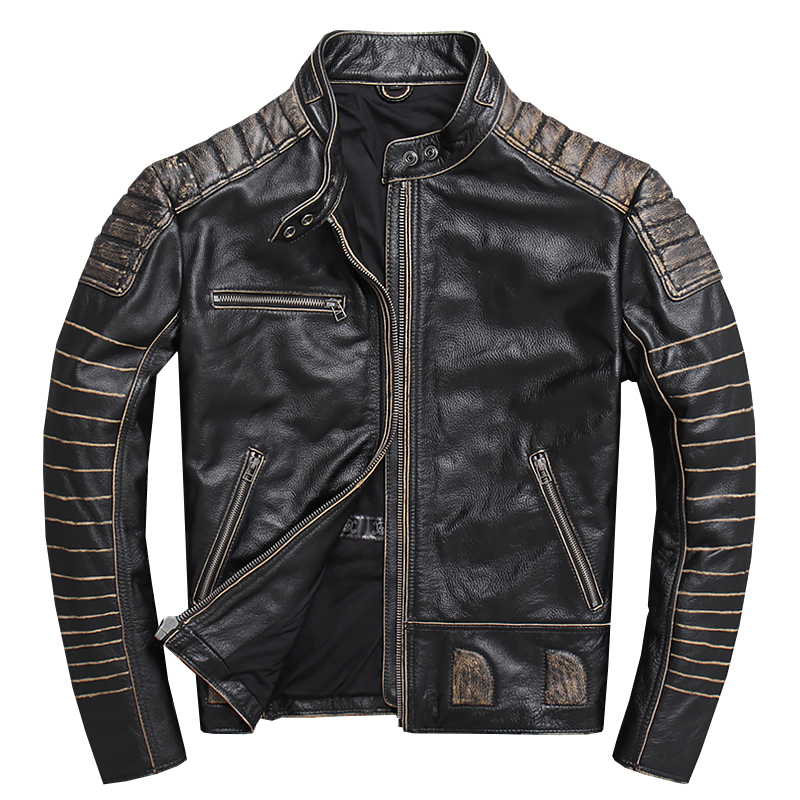 2020 Retro Vintage Black Men Slim Fit Biker's Leather Jacket Plus Size XXXXXL Genuine Cowhide Motorcycle Coat FREE SHIPPING