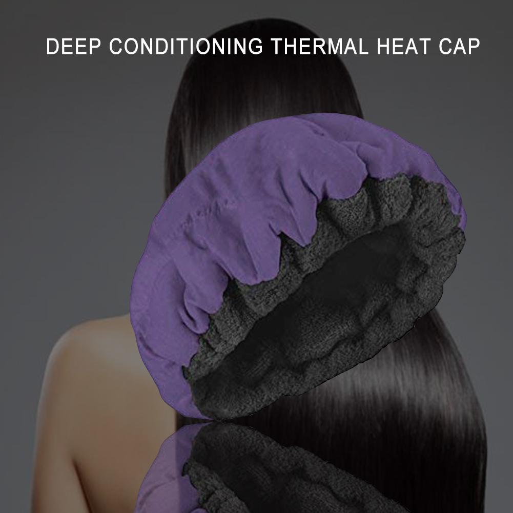 Heating Cap Deep Conditioning Heat Cap Hair Care Microwavable Heat Cap Steaming Microfiber Cotton Reversible Flaxseed Interior