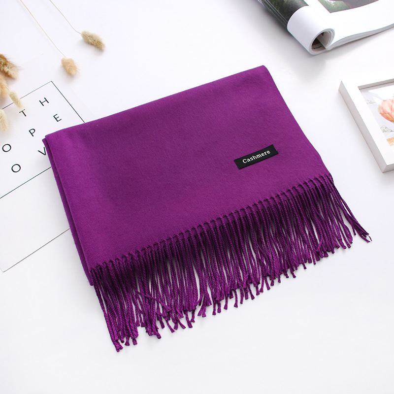 Luxury Solid Women Scarf Winter Cashmere Pashmina Shawls Warm Lady Blanket Wraps Bufanda Scarves Tassel Neck Echarpe 2020