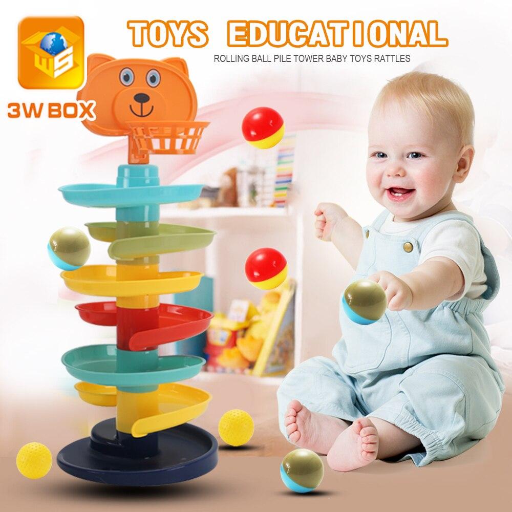 3WBOX Spin track Rolling Ball Pile Turm montessori spielzeug Baby Spielzeug Rasseln baby Spin Interaktive touch Weihnachten Pädagogisches spielzeug