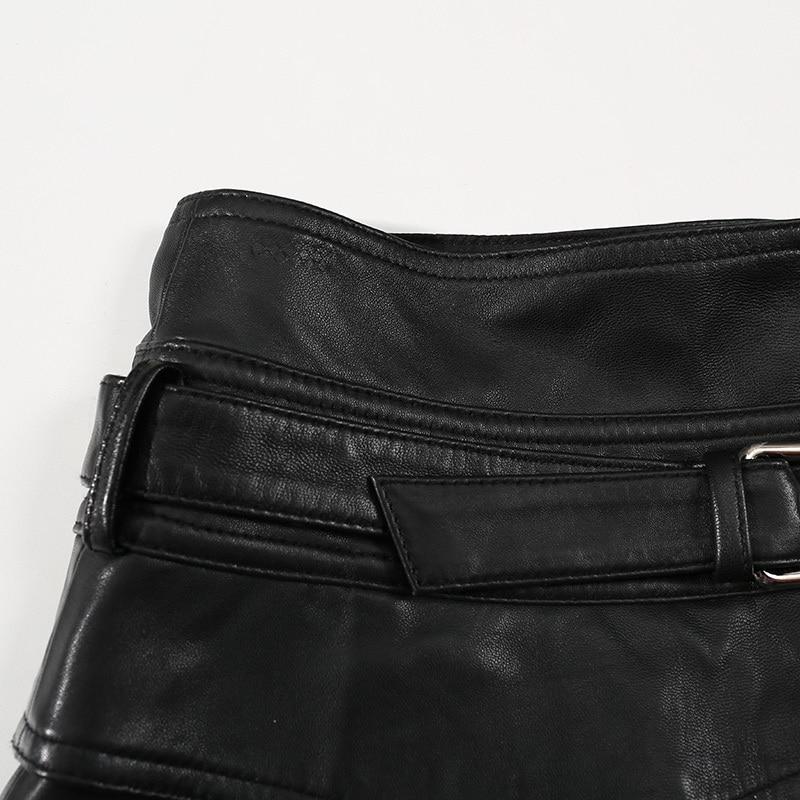 Winter Women Casual Genuine Leather Black High Waist Belt Zipper Vintage Korean Style Female Real Sheepskin Hot Shorts
