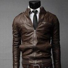 Новая модная Осенняя мужская кожаная куртка черная, коричневая мужская куртка со стоячим воротником кожаная байкерская куртка мотоциклетная кожаная куртка