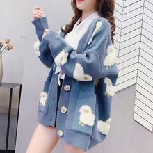 Jacket Women Sweater Cardigan-Tops Knitted Coat Oversize Sheep Long-Sleeve Cartoon Elegant