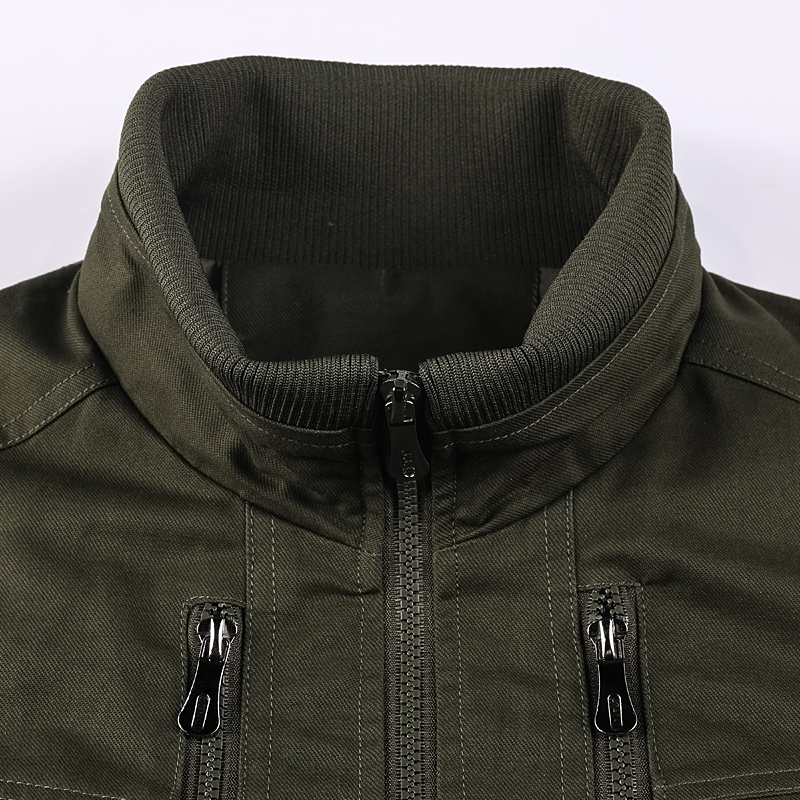 Men Military Zipper Pilot Bomber Jacket